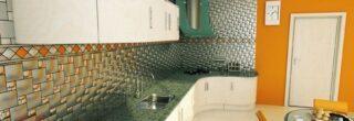 cozinha decorada com pastilhas de inox 6