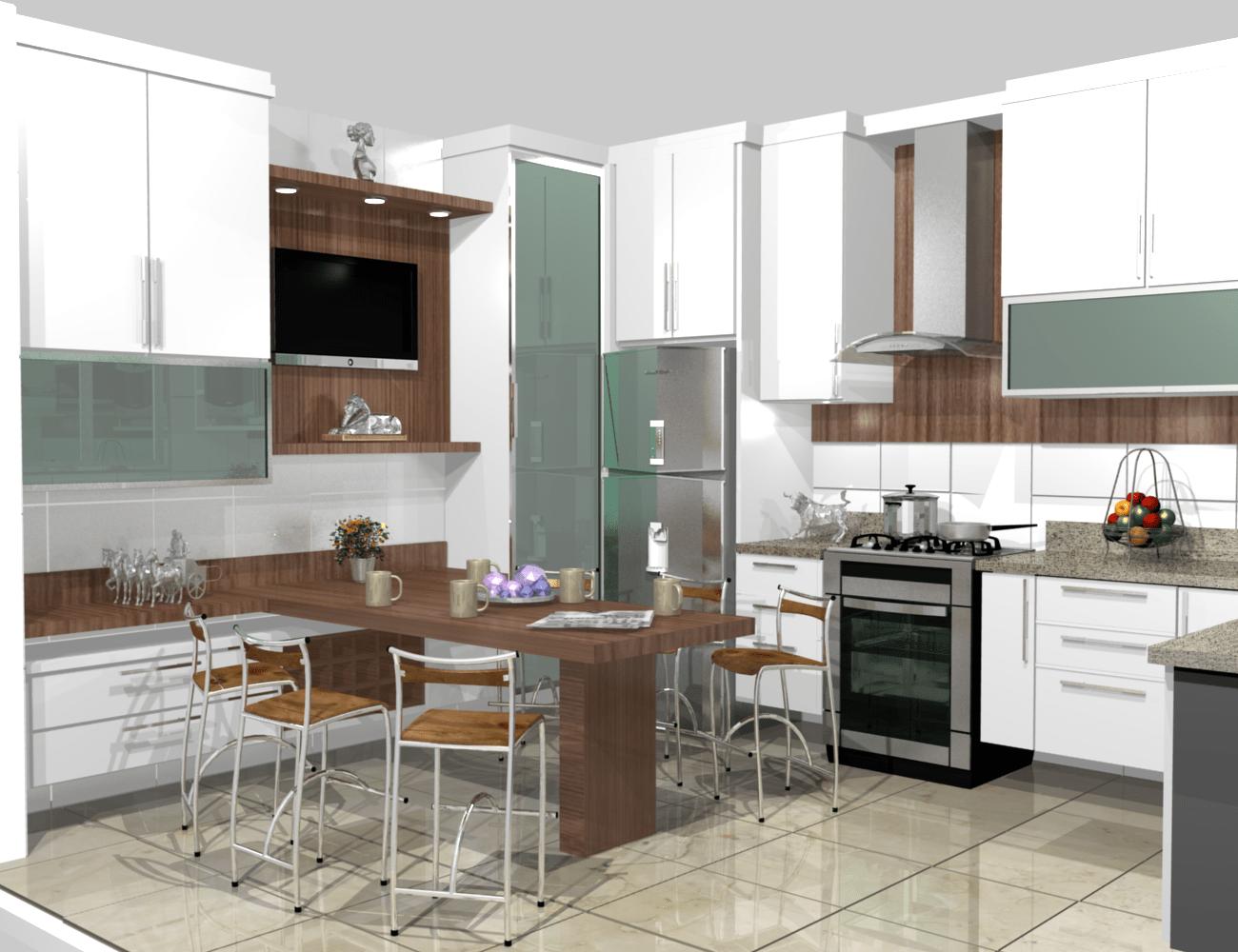 Cozinha Decorada Moderna Fotos Bela Feliz