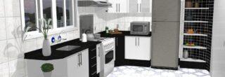 cozinha planejada preta e branca 2