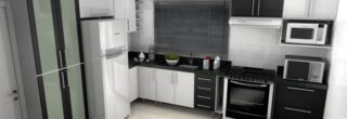 cozinha planejada preta e branca 5