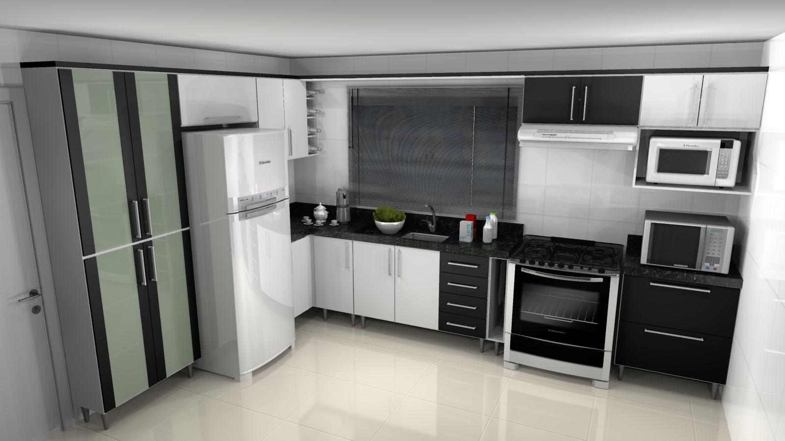 Cozinha Planejada Preta E Branca Configura Es Bela Feliz