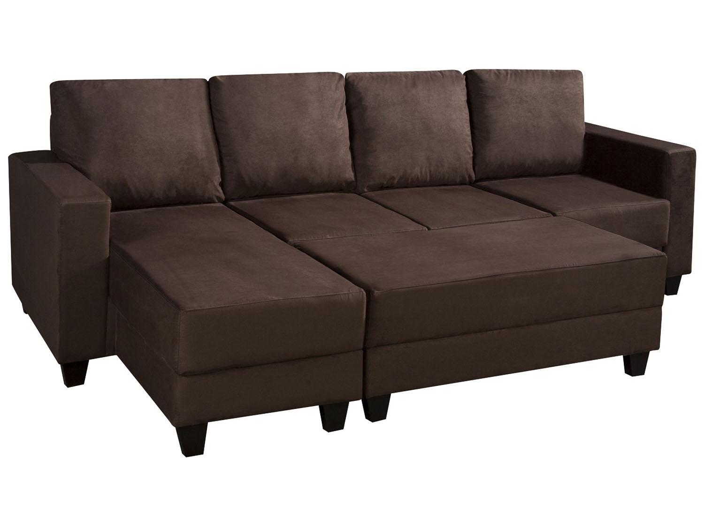 Sofá com chaise retrátil 3 lugares