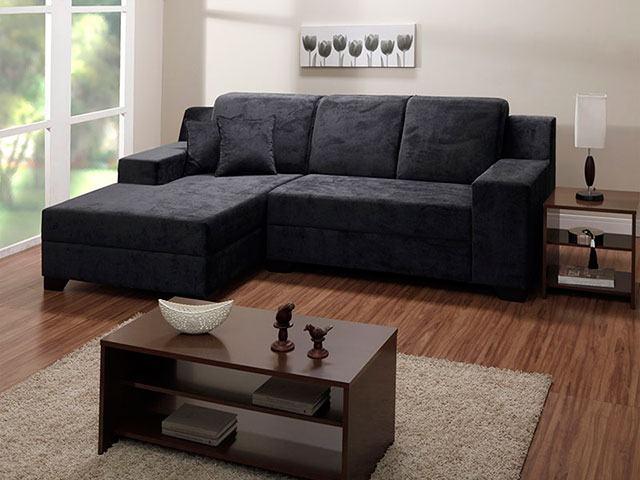 Sala com Sofá com chaise 4 lugares