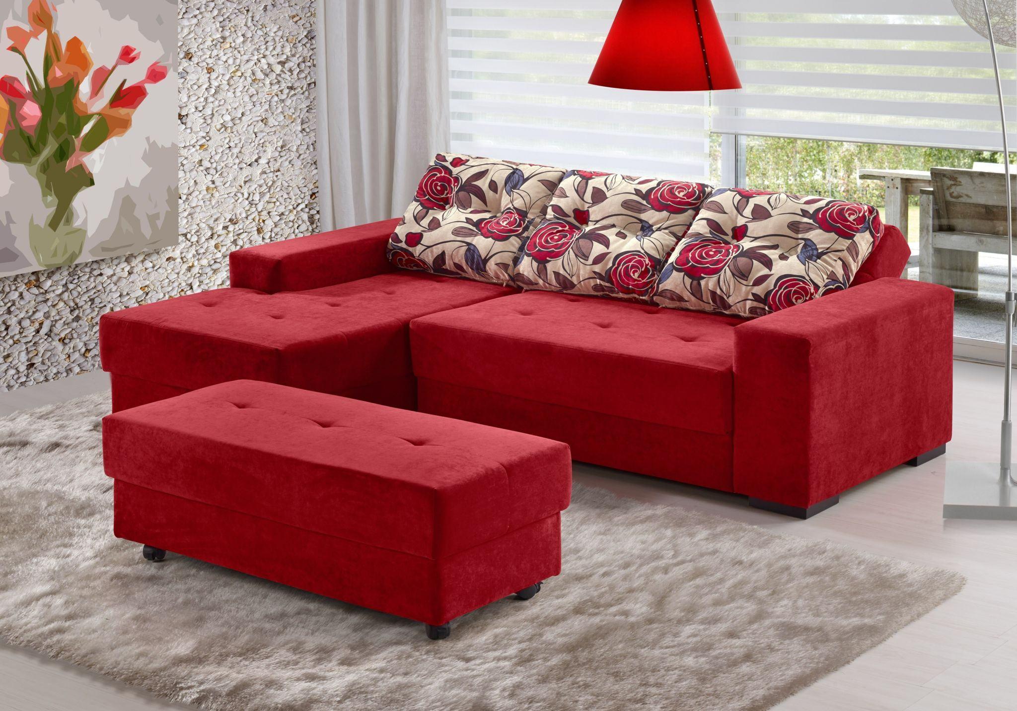 Sofá de canto pequeno vermelho   Bela & Feliz