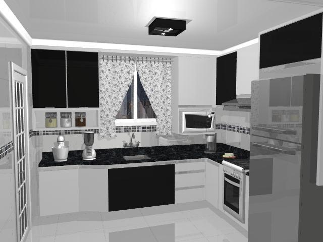 Cozinha Planejada Preta E Branca Configurações Bela Feliz