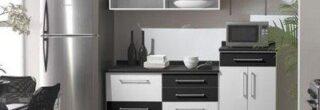 cozinha planejada preta e branca 7