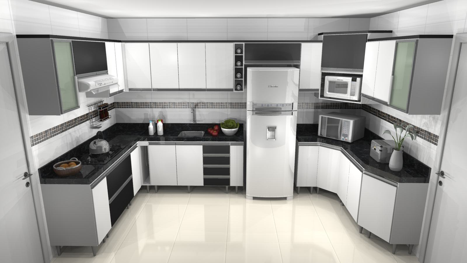 Aparador Mdf Cru ~ Cozinha planejada preta e branca configurações Bela& Feliz