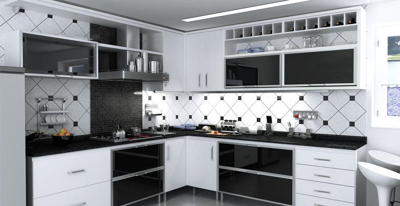 Artesanato Feito De Origami ~ Cozinha planejada preta e branca configurações Bela& Feliz
