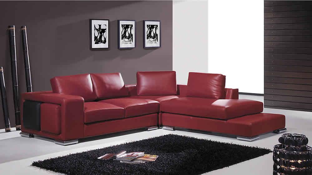 Sofá de canto pequeno vermelho