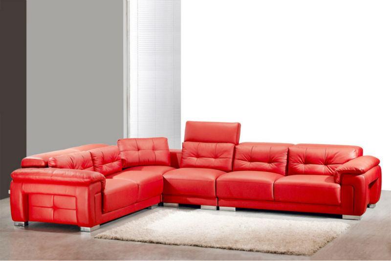 Sofá de canto de couro vermelho