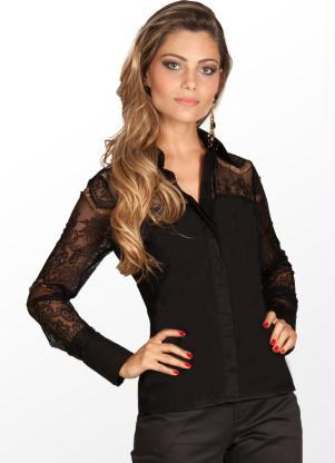 camisa de renda preta basica