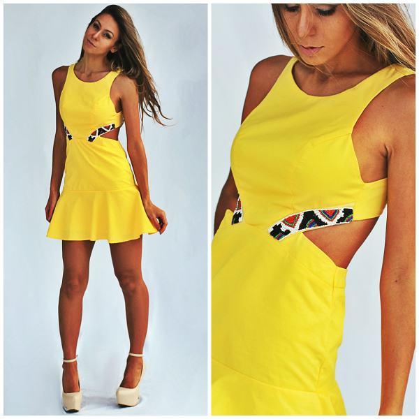 vestidos curtos para balada amarelinho