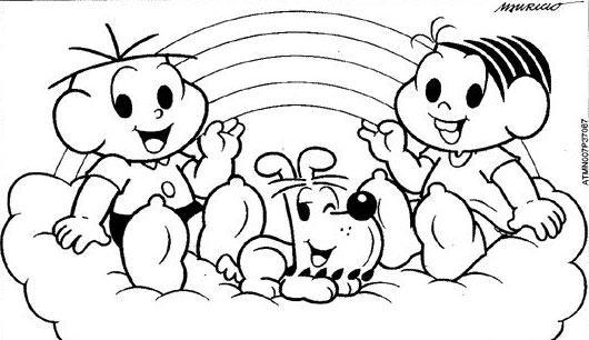 Desenhos Da Turma Da Monica Para Imprimir E Colorir Bela Feliz