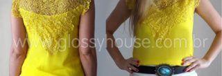 blusinha amarela com saia curta
