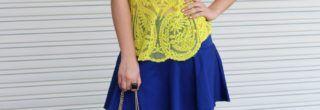 blusinha amarela para usar com saia azul