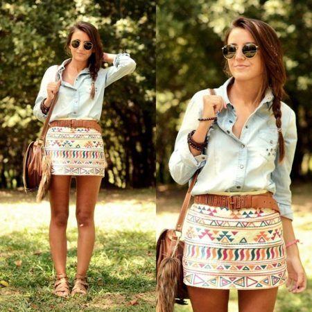 camisa jeans com saias étnicas