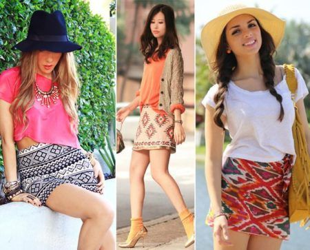 saias étnicas modelos discretos ou coloridos