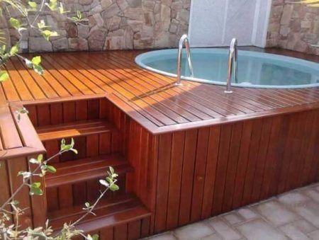 Deck de madeira na decora o residencial bela feliz for Piscina para criar peces