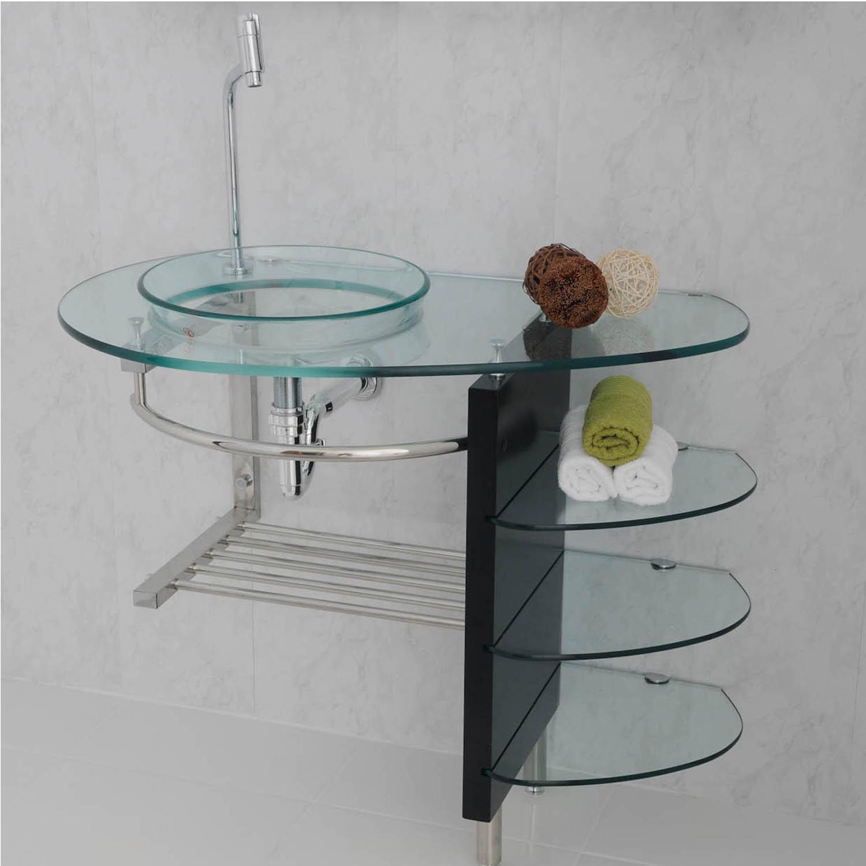 Móveis para banheiro de vidro pias gabinetes e mais  Bela & Fel -> Pia Para Banheiro De Vidro