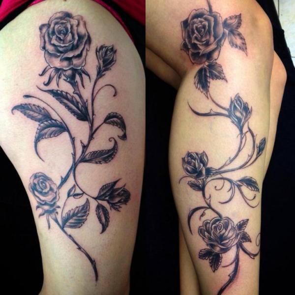tatuagem na perna flores