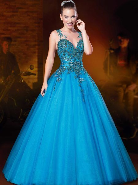 vestido azul 15 anos