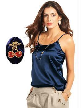 blusa de cetim regatinha azul marinho
