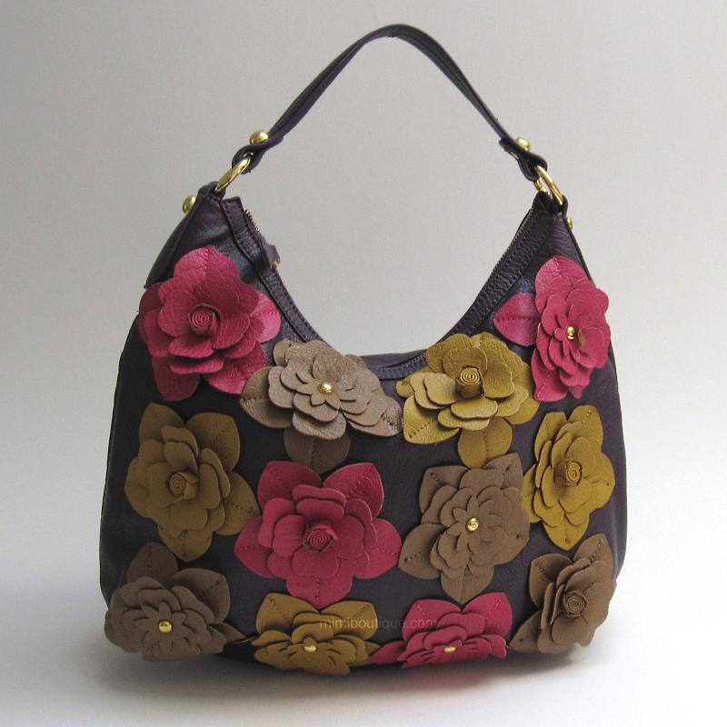 bolsa persolalizada com flores de couro