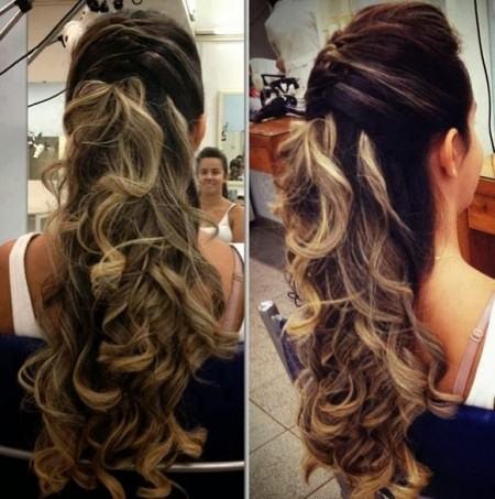 cabelos longos semi presos
