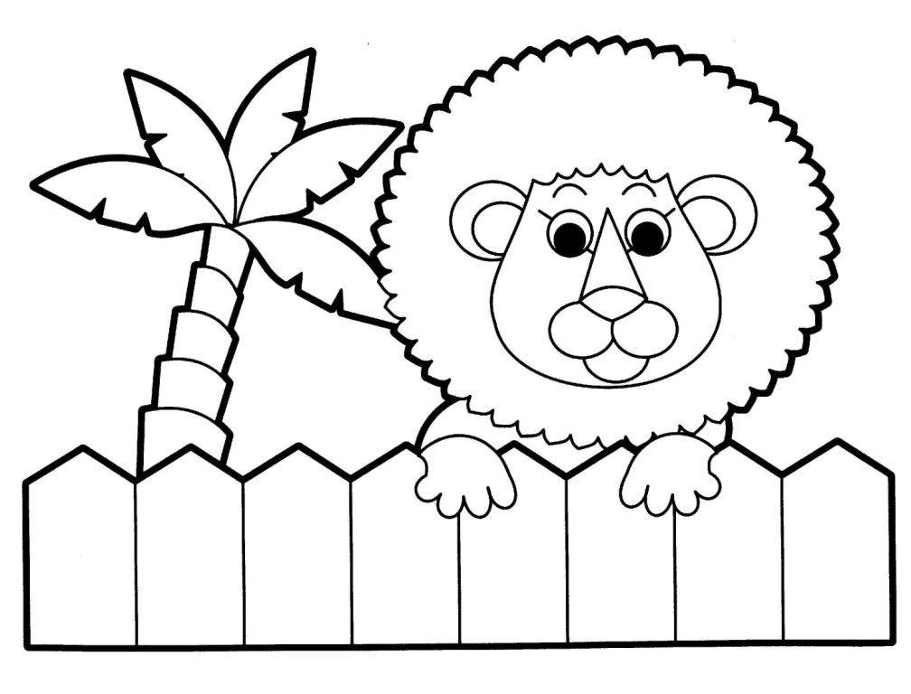 leaozinho no cerca com palmeira para colorir