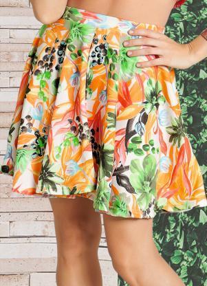 saias rodadas estampadas floral moda verao