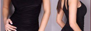 vestidos drapeados curtos preto
