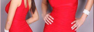 vestidos drapeados curtos vermelho