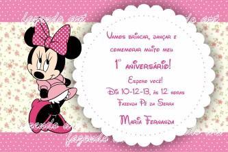 convites de aniversário da minnie rosa