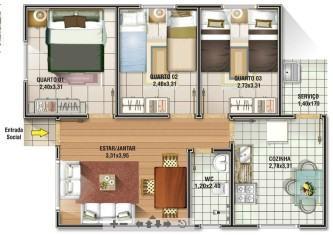 dicas de planta de casas com 3 quartos grátis