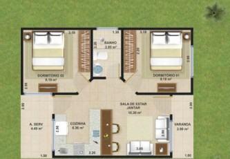 dicas de plantas de casas 70m2 com 3 quartos