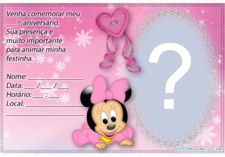 Convites De Aniversário Da Minnie Para Meninas Bela Feliz