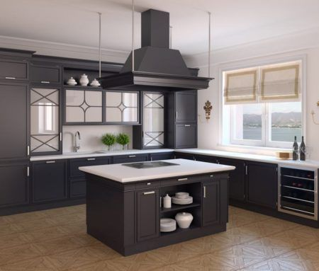 Interior of classic black kitchen. 3d render. Photo behind the window was made by me. This is Gelendzhik, Krasnodar Territory.