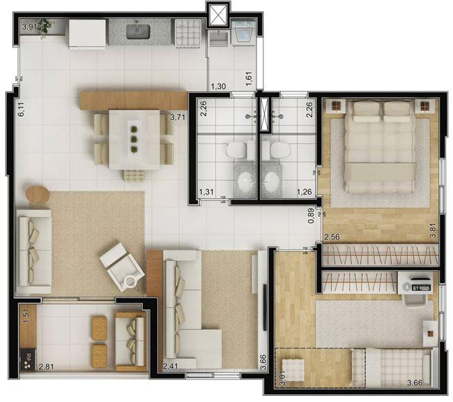 Plantas de casas 70m2 com 3 quartos modelos populares for Plantas arquitectonicas de casas