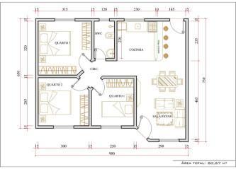 melhores plantas de casas 80m2 com 2 quartos e 1 suite para imprimir