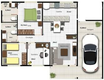 modelos de plantas de casas 80m2 com 2 quartos e 1 suite