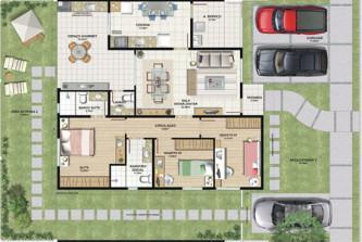 planta de casas com 3 quartos grátis