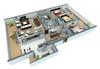 planta de casas com 3 quartos grátis 3d