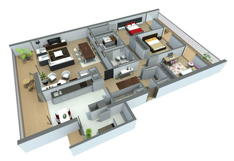 Planta de casas com 3 quartos gr tis conhe a as sugest es for Casa de tres plantas sylvanian