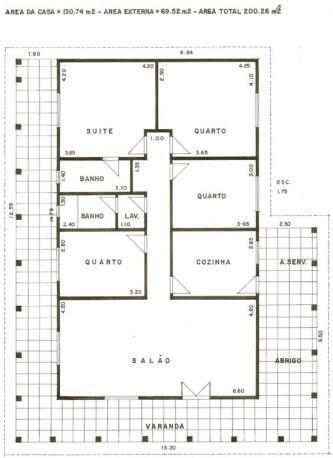 planta de casas com 3 quartos grátis para imprimir