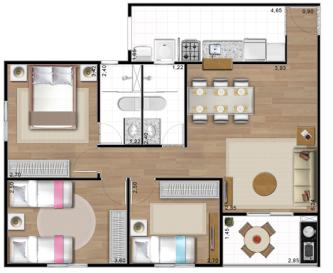 plantas de casas 70m2 com 3 quartos