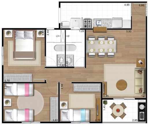 Plantas de casas 70m2 com 3 quartos modelos populares for Casas modernas de 70m2