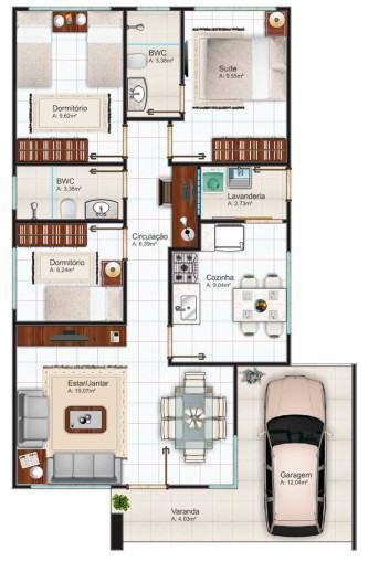 plantas de casas 80m2 com 2 quartos e 1 suite