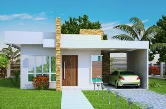 plantas de casas 80m2 com 2 quartos e 1 suite fachadas