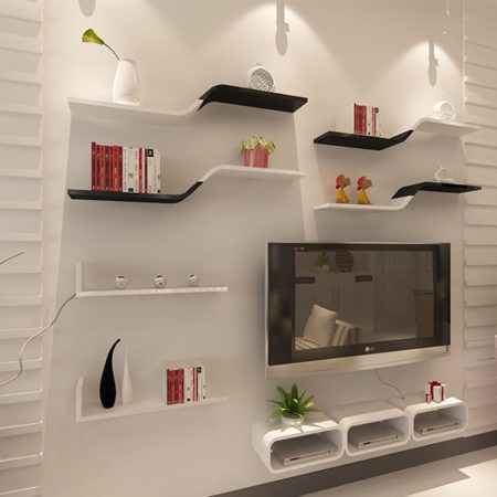 Sala moderna com tv na parede