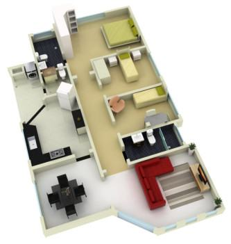 tipos de planta de casas com 3 quartos grátis 3d